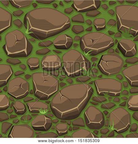 view from above, Cartoon stone on grass texture in brown colors seamless background