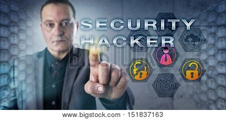 Investigator with concentrated look is touching SECURITY HACKER onscreen. Information technology metaphor and computer security concept for a cyber attacker exploiting system or network weaknesses.
