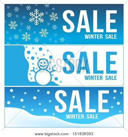 blue winter sale banner . 3 winter sale vector . snow