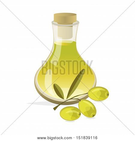 Olive branch with green olives on white background isolated vector. Mediterranean plant healthy olives tree ingredient fruit nature. Organic vegetarian natural vegetable green olives food oil branch.