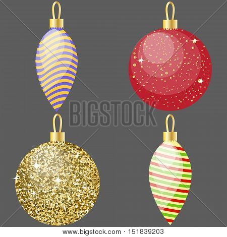 Set of 4 christmas decorative balls. Red, stripey glittering