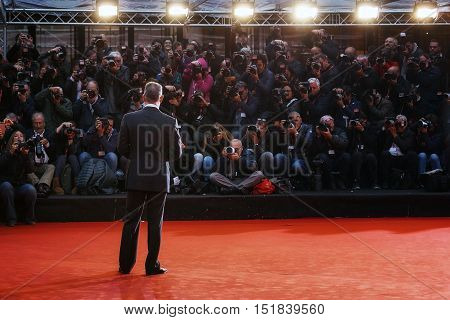 Rome Italy - October 13 2016: Tom Hanks on the red carpet at the 11th film festival in Rome
