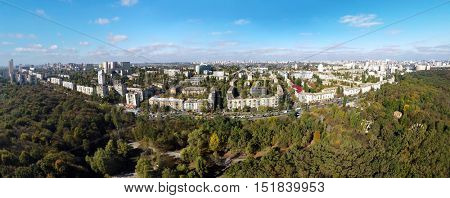 aerial view of the autumn Kiev, Holosiivskyi Ave.