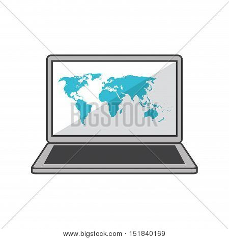 Laptop and map icon. Global communication intenet connectivity web and technology theme. Isolated design. Vector illustration