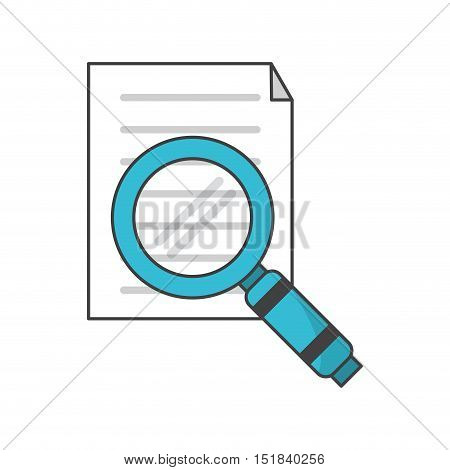Document and lupe con. Data archive storage and organize theme. Isolated design. Vector illustration