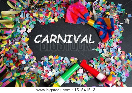 Some carnival party props with carnival text