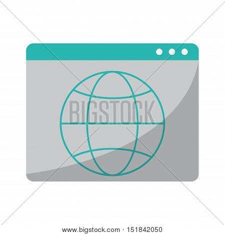 Website and sphere icon. Global communication intenet connectivity web and technology theme. Isolated design. Vector illustration