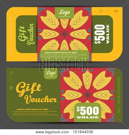 Blank of gift voucher vector illustration in autumn colors background with insert. poster