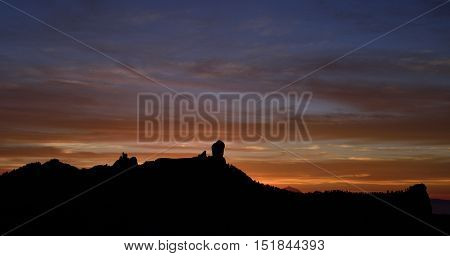 Colorful sky at sunset, natural park Roque Nublo, Gran canaria, Canary islands