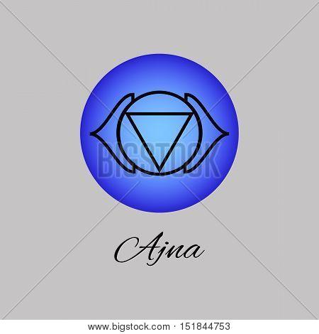 Ajna. Third eye chakra. Sixth Chakra symbol of human. Vector illustration. Element human energy system. Yogameditationreiki and buddhism color simbol.