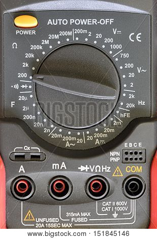 Detailed view of modern electrotechnical gauge current and voltage