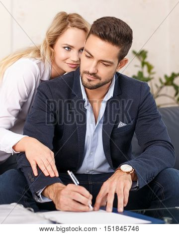 Rich boss sign contract for young blonde lover in office gold digger