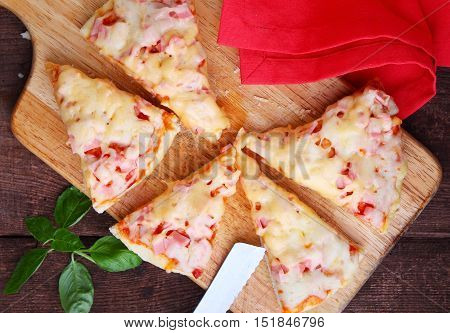 Pizza with tomato sauce a nd cheese