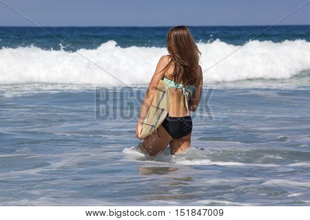 Teenage Girl with a Surfboard at the beach in Southern California.  She is walking into the water and wearing a bikini.