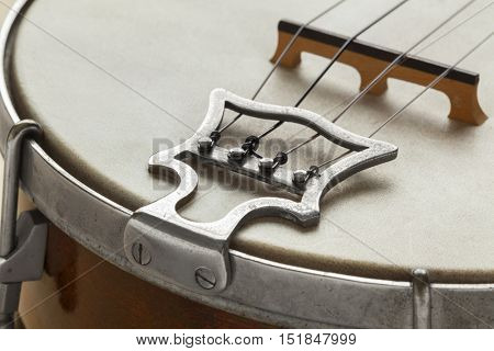 Ukelele banjo tailpiece close up