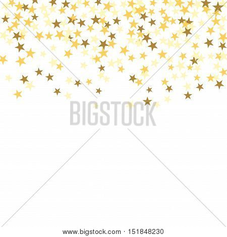 Gold star confetti celebration isolated on white background. Falling golden abstract decoration for party birthday celebrate anniversary or Christmas New Year. Festival decor. Vector illustration