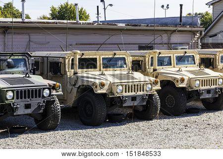 Kokomo - Circa October 2016: Humvee Multipurpose Vehicles lined up at the Indiana National Guard Armory I