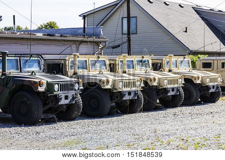 Kokomo - Circa October 2016: Humvee Multipurpose Vehicles lined up at the Indiana National Guard Armory II