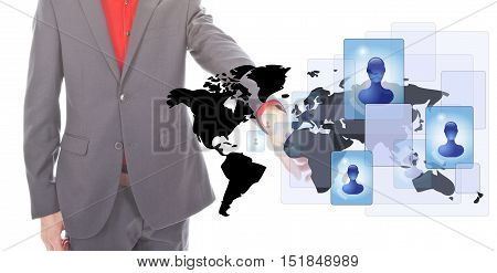 Young businessman with worldmap and social media persons on white background