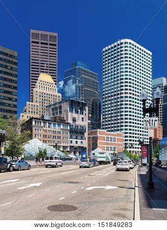 Boston Massachusetts - June 2016, USA: Skyscrapers in Boston finacial district view on Federal Reserve Plaza park