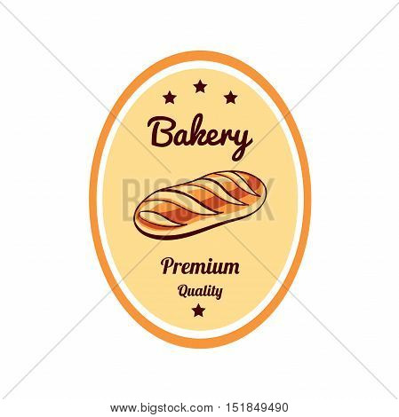 Sticker with hand drawn long loaf isolated on white background. Can be used for design of bakery or breadshop. Vector illustration