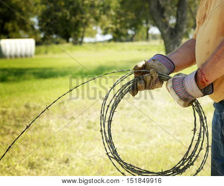 Fencing and safety: Man's hand working on barbed wire farm fence with blood cut.