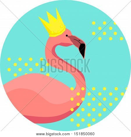 Beautiful design on a t-shirt prints. Vector flamingo in the crown. Flamingo illustration. Flamingo vector. Pink flamingo