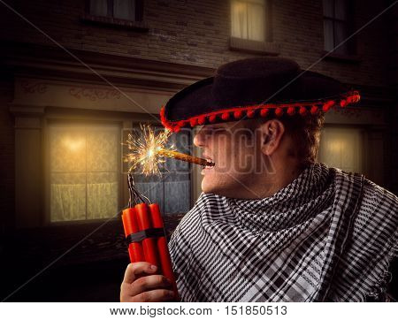 Man firing dynamite