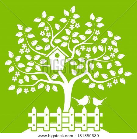 vector flowering tree with nesting bird box and picket fence with mother bird and baby bird isolated on green background