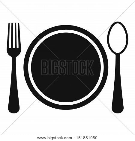 Place setting with plate, spoon and fork icon. Simple illustration of plate, spoon and fork vector icon for web