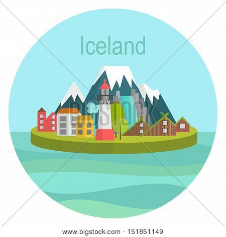 vector illustration Island country Iceland Landmark Global Travel And Design template Journey Infographic. Postcard for tourism sign icon