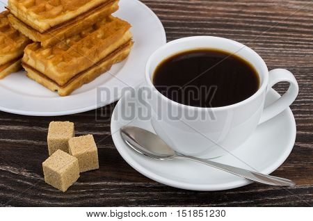 Coffee Cup, Viennese Waffles On Plate And Brown Sugar