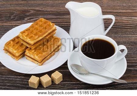 Black Coffee With Viennese Waffles, Sugar And Jug Milk
