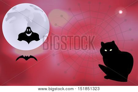 Vector illustration of a ghost and a bat flying around black cat waiting for Halloween holiday