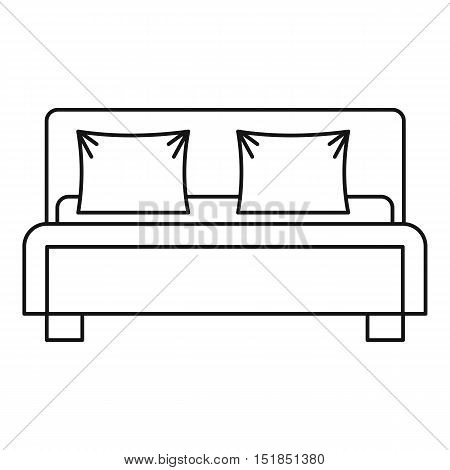 Double bed icon. Outline illustration of double bed vector icon for web