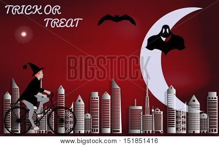Vector illustration of a witch riding through the city on a bicycle illuminated by the bright moon come Halloween
