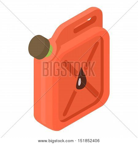 Red jerrycan with oil drop icon. Isometric 3d illustration of jerrycan vector icon for web