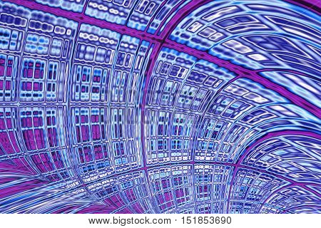 Abstract technology background - computer- generated image. Fractal geometry: distorted curved surface with cells of different sizes like a wall of a futuristic tunnel. For covers, posters, web design