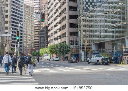 SAN FRANCISCO USA - OUT 13 2016:Traffic in Financial District of San Francisco.San Francisco has a diversified economy with wide range of professional services including finance tourism and high tech.