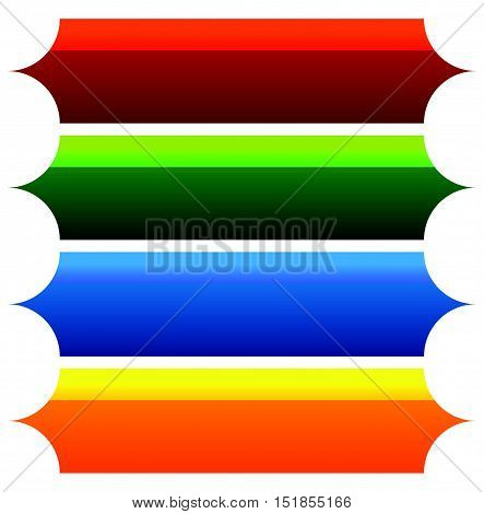 Colorful Button, Banner Background Shapes In 4 Bright Colors