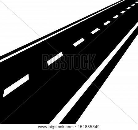 Empty Road, Roadway With Perspective And Divider Lines