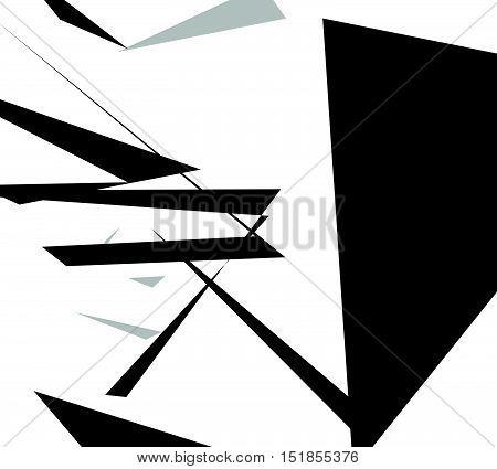 Edgy Angular Shapes Abstract Monochrome Art. Geometric Illustration.
