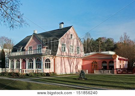 Old pink house in the Ogre. Latvia.