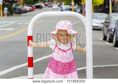 Adorable little caucasian girl in nice pink dress outdoors. Nelson, New Zealand