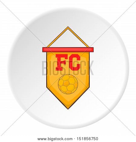 Yellow pennant with soccer ball icon. Cartoon illustration of pennant with soccer ball vector icon for web