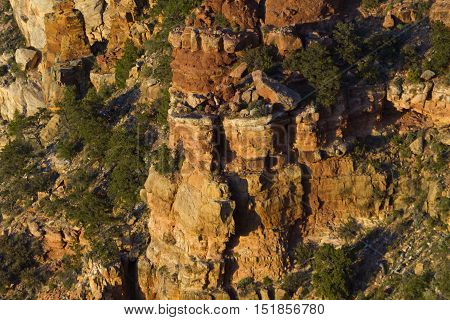 Dramatic rock and columns seen from Navajo Point in Grand Canyon National Park in Arizona USA.