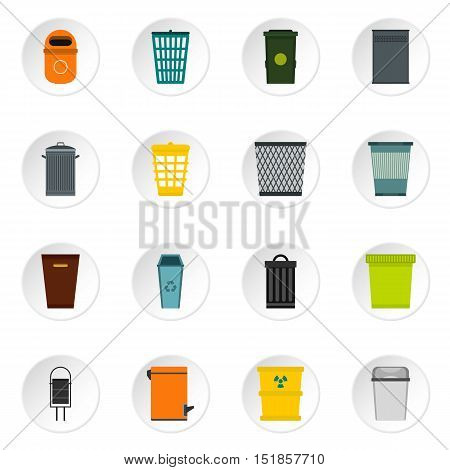 Trash can and recycle bin icons set. Flat illustration of 16 trash can and recycle bin vector icons for web