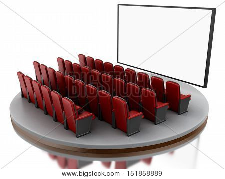 3d renderer image. Cinema movie theater. Isolated white background.