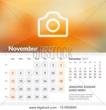 November 2017. Desk Calendar For 2017 Year. Week Starts Sunday. 2 Months On Page. Vector Design Prin