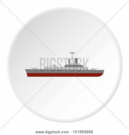 Navy warship icon. Flat illustration of warship vector icon for web design